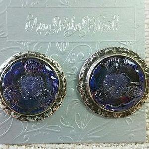 Purple Czech Glass Button Earrings Sterling